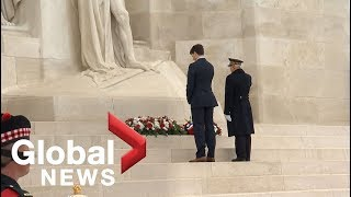 Canadian PM Justin Trudeau lays wreath at Vimy Ridge War Memorial