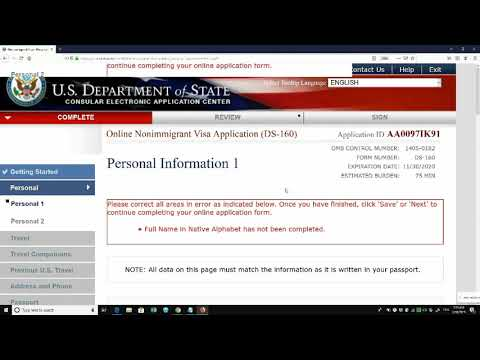 DS 160 Form Filling Online In ENGLISH | US Visa B1 And B2 Detailed Video