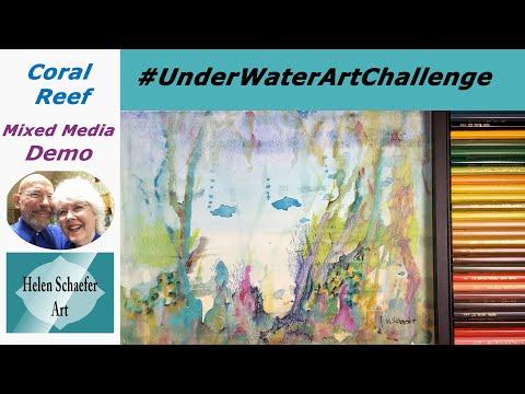Coral Reef Mixed Media Demo For #UnderWaterArtChallenge, Using Ink, Watercolor, Colored Pencils