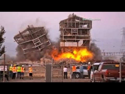 PG&E Implosion Severs Man's Leg Bakersfield Power Plant Implosion Flying Shrapnel