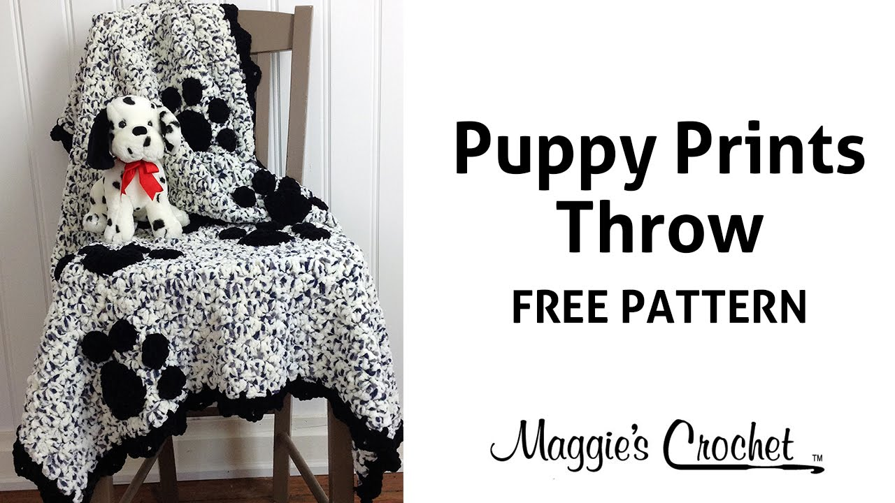 Puppy Prints Afghan Free Crochet Pattern - Right Handed - YouTube