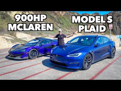 Tesla Model S Plaid Vs 900hp Mclaren RACE!