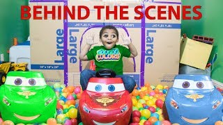 Lightning McQueen Learn Colors with Goo Goo Gaga & Giant Castle Box Fort! BEHIND THE SCENES