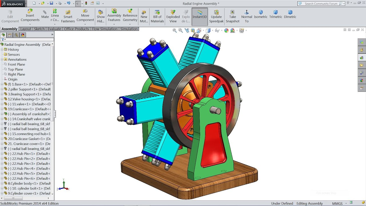 how to make an engine in solidworks