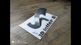 Drawing a 3D letter S - very easy - 3d trick art on paper - Art Maker Akshay