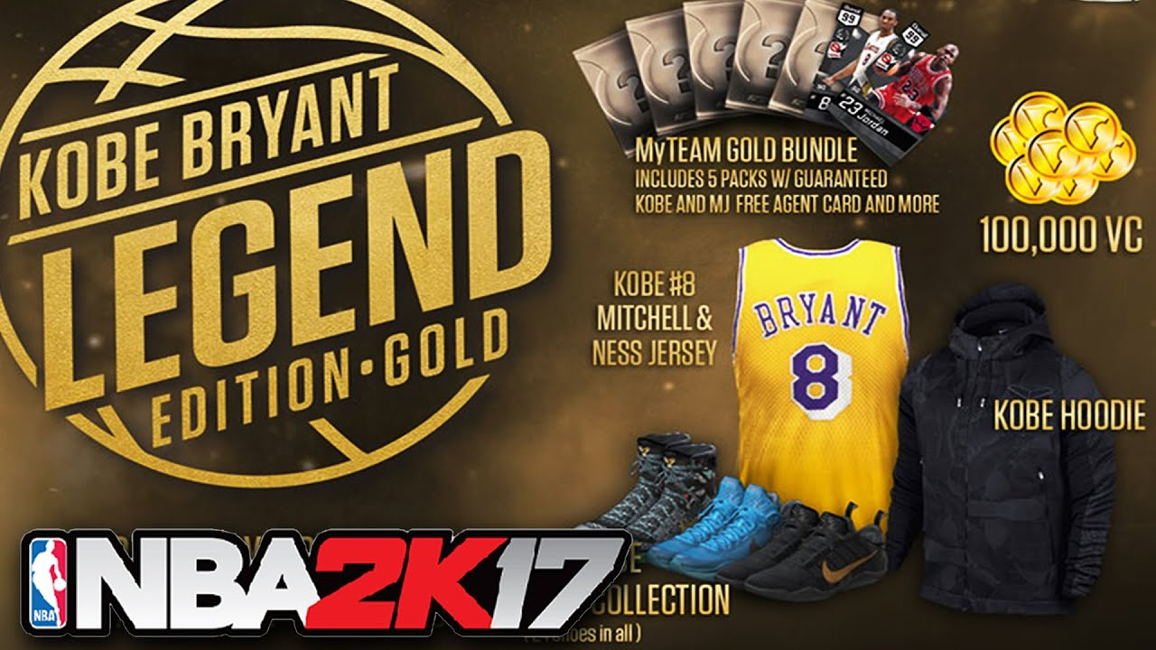 NBA 2K17 Legend Gold Edition - All Kobe Bryant Pre Order Bonus DLCs (Kobe  Shoes Collection) - YouTube