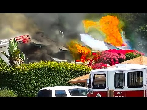 Laguna Niguel, California house fire fully involved - Orange county