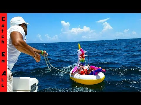 SHARK PULLS Guy 2 MILES In OCEAN On UNICORN POOL FLOATY!