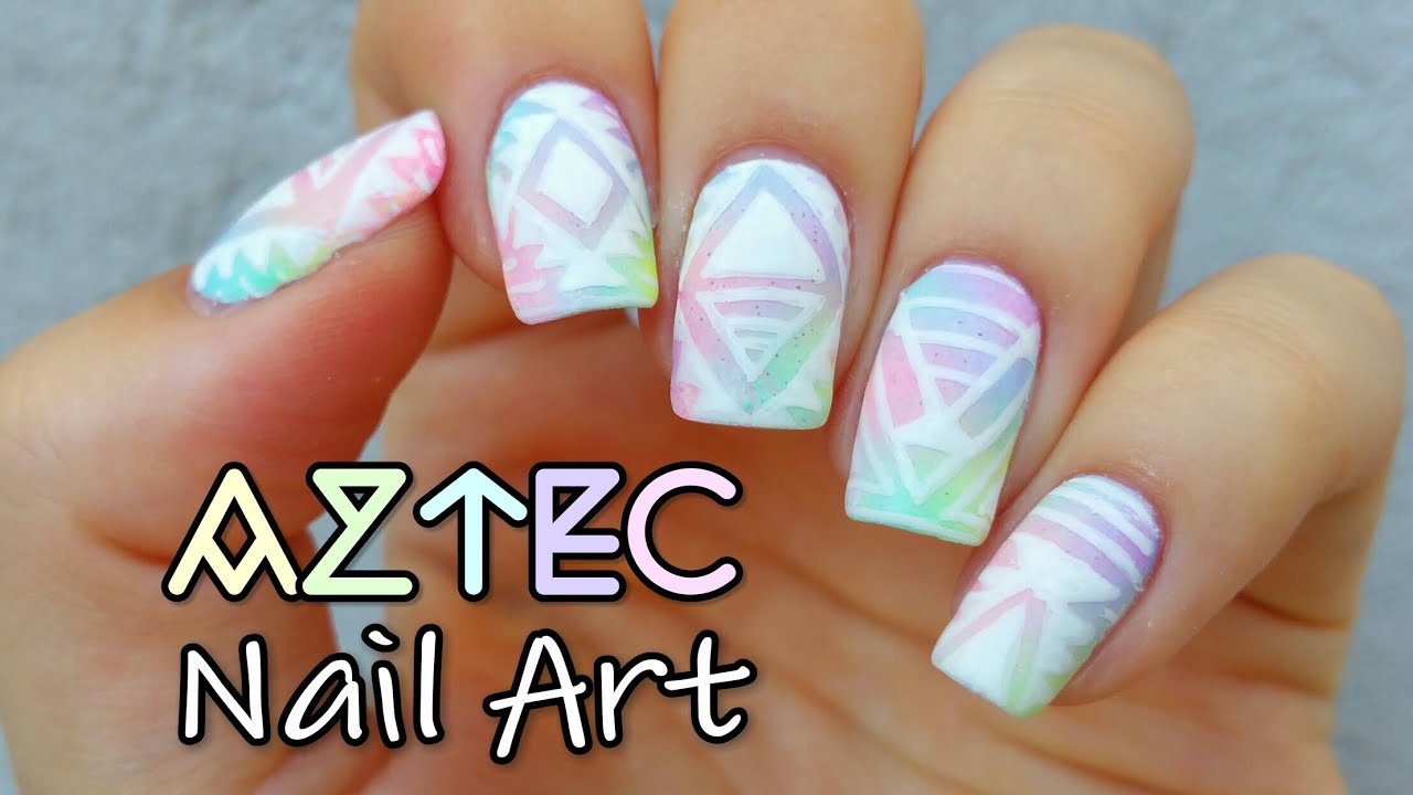 Pastel Aztec Nail Art Youtube
