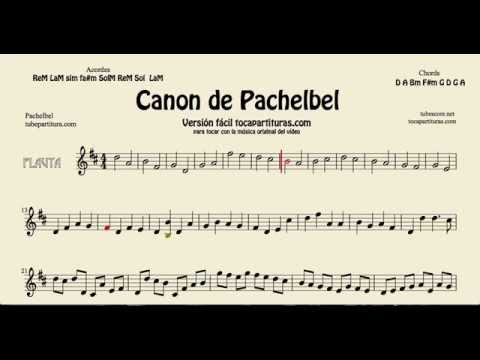 Pachelbel's Canon in D Sheet Music for Flute and Recorder tocapartituras com version