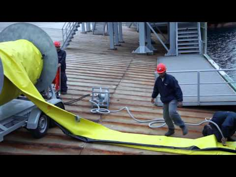 Oil spill response services,oil boom deployment,inflatable oil boom, oil spill Scorpion oil boom