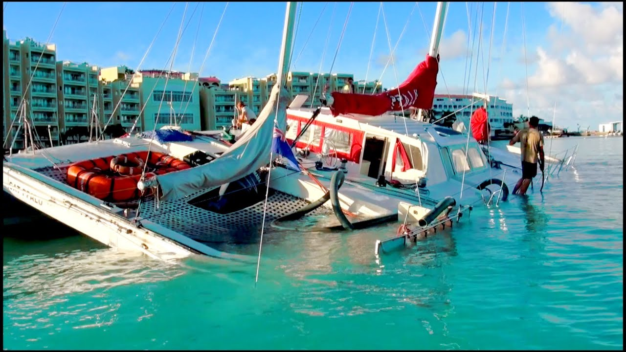 OUCH!! What NOT TO DO with a sailboat near a REEF    in St Maarten / St  Martin, SXM, CARIBBEAN