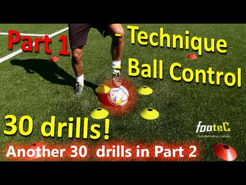 Ball Mastery l Coerver Coaching & Fast Footwork Part 1  30 *GREAT* Football drills for Ball Control