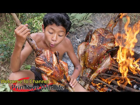 Primitive Wildlife - Cooking big chicken in the rainforest - Eating delicious