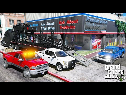 GTA 5 REAL LIFE MOD #25 BUYING NEW TRUCKS FOR OUR TRUCKING COMPANY & TRANSPORTING THEM TO OUR GARAGE