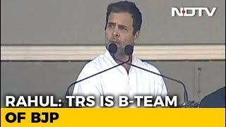 """TRS Is """" Telangana Rashtra Sanghpariwar"""" Rahul Gandhi& 39 s Potshot At KCR"""