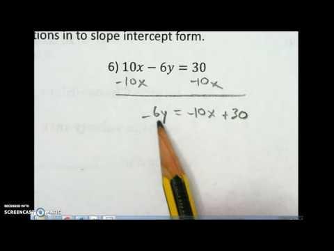 43 Standard Form Into Slope Intercept Form Part 2 Youtube