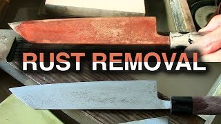 Rusted Knife vs Rust Eraser - Japanese Sabitori Usage and Whetstone Polishing