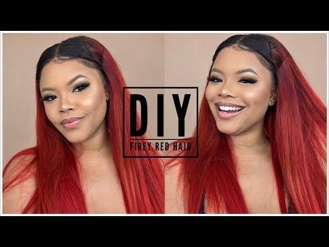 How To Dye Hair Vibrant Orange/Auburn/Red Color + Easy Hair Style Ft Kiss Tintation