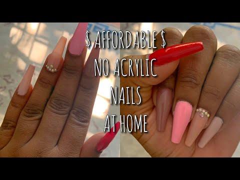 AFFORDABLE NO ACRYLIC NAILS DIY AT HOME! | PRESS-ON NAIL TUTORIAL FOR BEGINNERS | Teni Ciel thumbnail