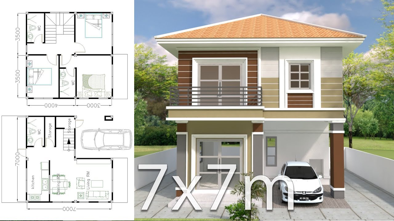 home blueprint design home design plan 7x7m with 3 bedrooms youtube 6241
