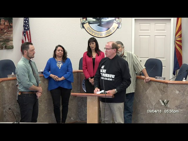 Cottonwood City Council Proclamations, Awards and Introductions of new employees September 4 2018