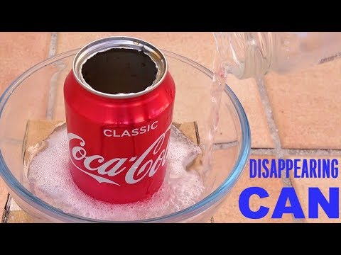 Disappearing Coca Cola Can Experiment | Sodium Hydroxide (lye) Reaction