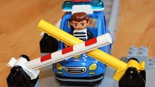 Машинки мультики про Полицейский поезд - Мультфильм про машинки игрушки: Шлагбаум