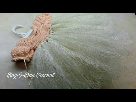 CROCHET How to #Crochet and Tulle No Sew Newborn Dress Photo Prop  #TUTORIAL #302 LEARN CROCHET
