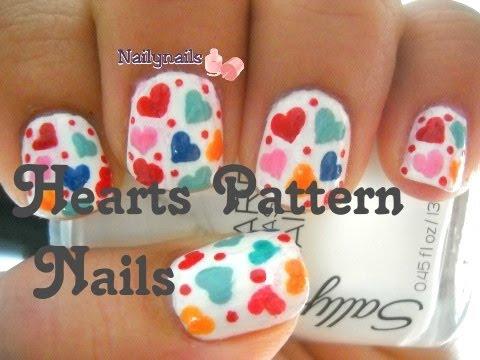 Easy Hearts Pattern Nails Diseño De Uñas De Corazones Fácil