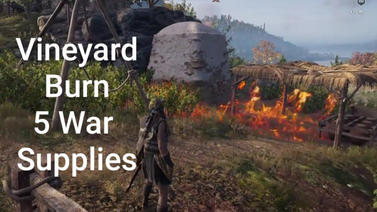 Assassin's Creed Odyssey : Vineyard # Lesbos , Loot treasure , Burn War  supplies by SoLTronkV
