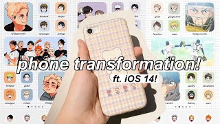 phone transformation! 🍙 ft. iOS 14 + how i make my app icons! ( aesthetic anime )