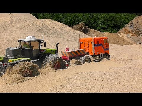 RC TRUCK AND TRACTOR STUCK IN THE QUICKSAND! FATASTIC RC ACTION !