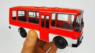 Легендарный ПАЗИК ПАЗ-3205 модель автобуса масштаб 1/43 Modimio Наши Автобусы №2 распаковка и обзор!