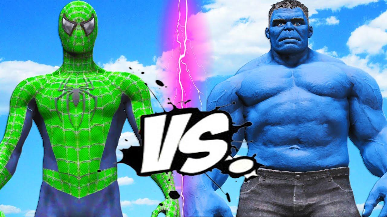 GREEN SPIDER-MAN VS BLUE HULK - Spiderman vs Hulk - YouTube