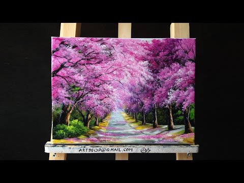 Beautiful Cherry Blossoms Road Acrylic Painting (canvas size