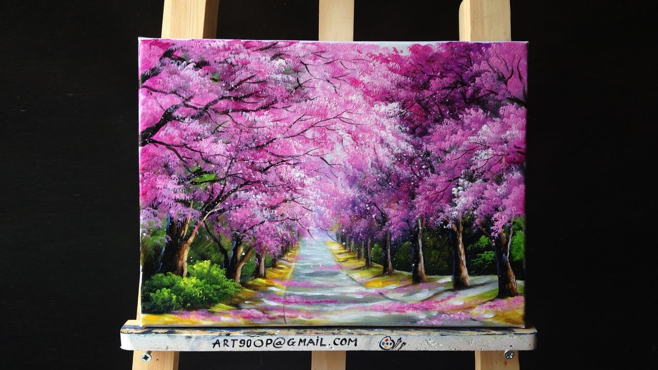 Beautiful Cherry Blossoms Road Acrylic Painting Canvas