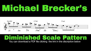 Diminished scale Pattern #8. (Michael Brecker's style diminished scale pattern) II-V-I lick