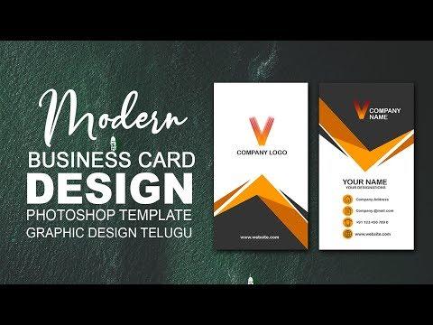 BUSINESS CARD DESIGN | Photoshop Tutorial l Graphic Design Telugu thumbnail