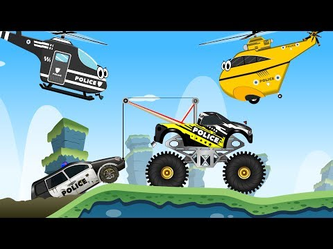 Police Car Stuck in the Sticky Mud w Little Red Truck - Videos for Kids Cars Cartoon