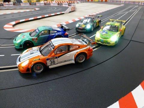 Carrera Digital 132 Porsche GT3 RSR Hybrid vs. Team Falken vs. Manthey Racing vs. Haribo Racing