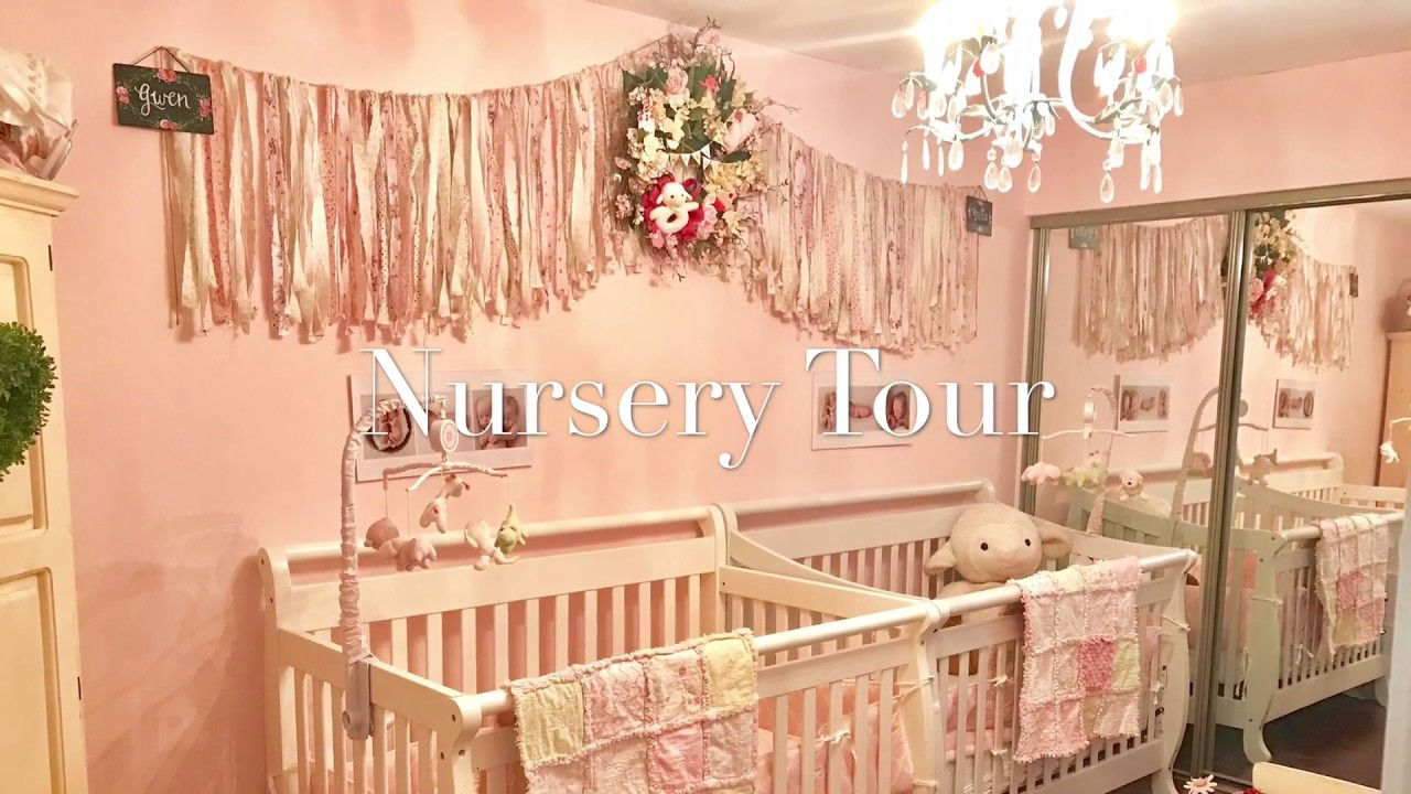 Twin Shabby Chic Nursery Room Tour Pink And White Decor