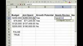 Using AND, OR, IF Funtions in Excel