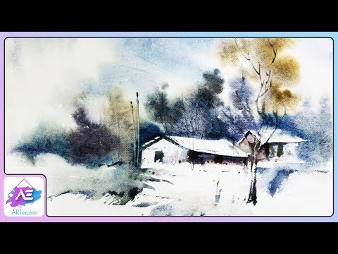 Easy Watercolor Landscape Painting Tutorial | How to paint a watercolor landscape | Art Explain
