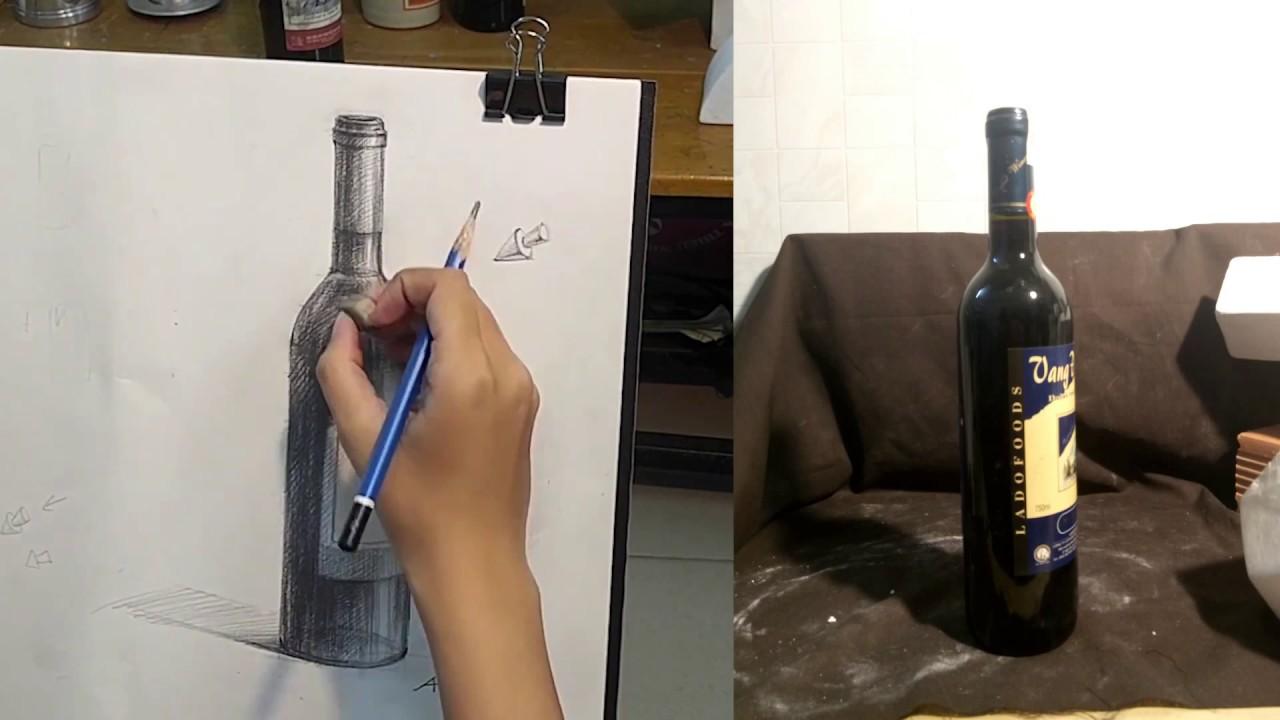 Vẽ Tĩnh vật : Chai rượu