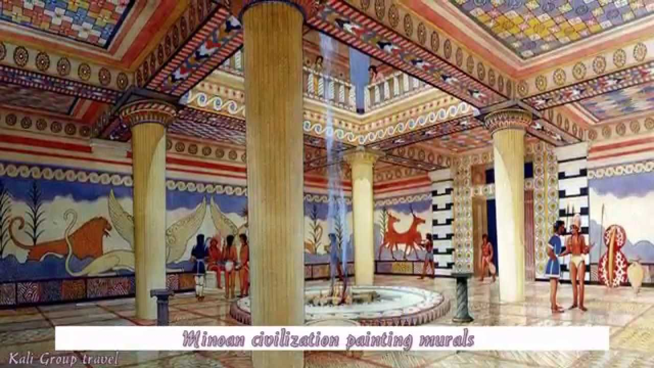 Minoan civilization painting murals youtube for Ancient greek mural