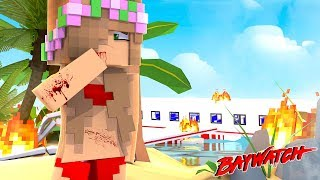 PLANE CRASH AT BAYWATCH BEACH! | Minecraft Baywatch |  Little Kelly