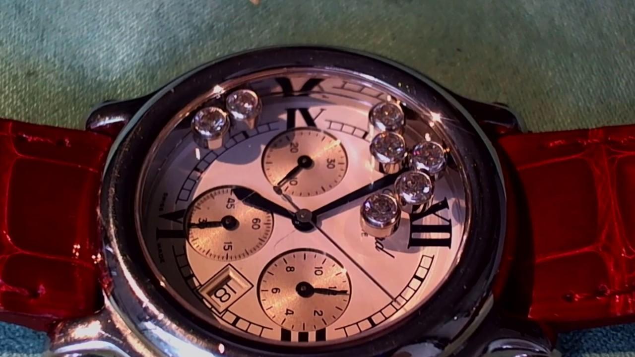 十點九分鐘錶Chopard Happy Sport蕭邦快樂鑽計時碼錶維修 - YouTube