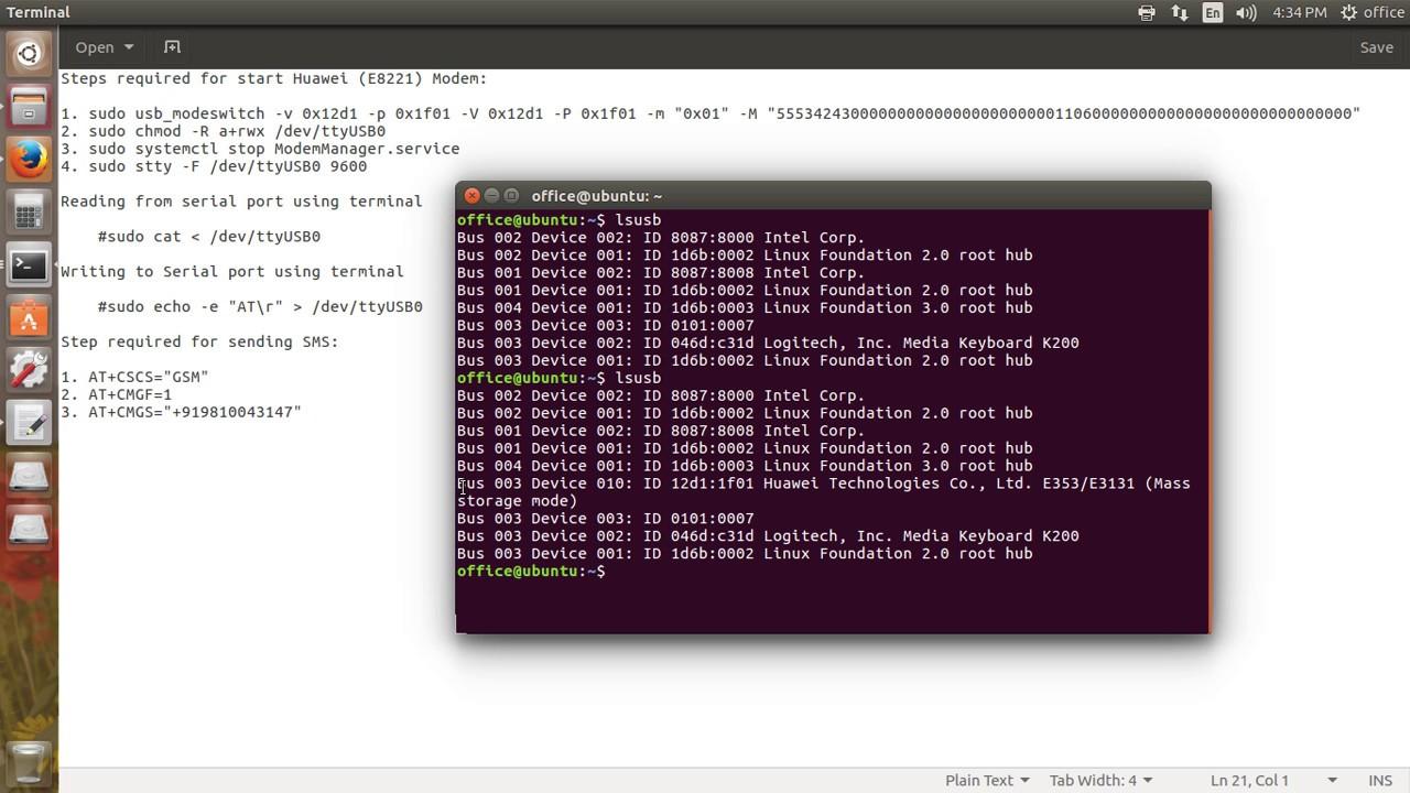 How to switch mass storage mode to modem mode Huawei USB modem on linux or  ubuntu machine