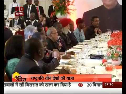 President Pranab Mukherjee arrives in Namibia